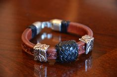 Turk's Head Leather, Lace & Leaves bracelet is eye-catching!  Handcrafted with skill and pride. on Etsy, $80.00