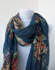 Dark Blue Floral Scarf - Shawl Flower Garden