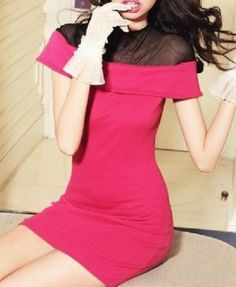 Rhodo Skinny Body-con Knit Dress with Sheer Cape Design