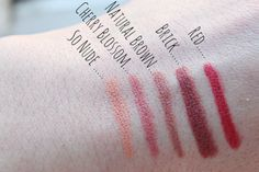 TERRA NATURI Lip Pencils in in 02 So Nude, 04 Cherry Blossom, 01 Natural Brown, 05 Brick and 07 Red