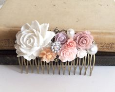Soft Pink Comb Plum Lilac Wedding Hair Accessory Blush Bridal Headpiece Bridesmaid Flower Hair Pin Floral Shabby Chic Rustic Woodland PM