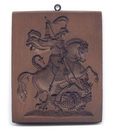 St. George Slaying the Dragon Cookie Mold - Antique Reproduction Cookie Mold