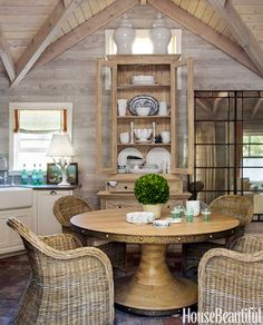 Poolhouse Dining Dhong Added Scale With A Reclaimed Lumber Hutch From Custom Furniture