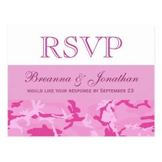 Camo Wedding RSVP Pink Camo Pattern Wedding RSVP V01 Postcard