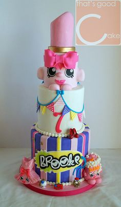 Shopkins cake for my Princess Bolo Shopkins, Shopkins Birthday Cake, Themed Birthday Cakes, 7th Birthday, Birthday Ideas, Themed Cakes, Fancy Cakes, Cute Cakes, Pastel Shopkins