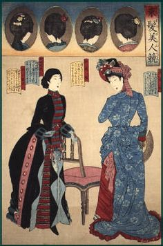 Woodblock print from Musee Virtual. Meiji-era women in Western fashions, as well as some very nice hairstyles. Era Meiji, Historical Costume, Historical Clothing, Geisha, Western Style Dresses, Meiji Restoration, Oriental, Steampunk Costume, Period Outfit