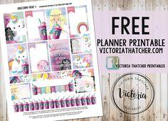 Free Unicorn Frap Planner Stickers from Victoria Thatcher
