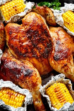 Bring your favourite Nando's chicken to the table with this Portuguese BBQ Peri Peri Chicken Recipe! PLUS the addition of juicy corn cobs in foil packets! Nando's Recipes, Turkey Recipes, Fish Recipes, Cooking Recipes, Healthy Recipes, Dinner Recipes, Healthy Food, Nando's Chicken, Peri Peri Chicken