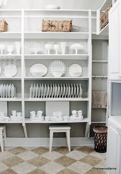 remodeled butler s pantry, closet, home decor, Open shelving with white dishes and platters Ready for company Pantry Shelving, Pantry Storage, Open Shelving, Kitchen Organization, Pantry Closet, Plate Storage, Plate Racks, Shelving Ideas, Storage Ideas
