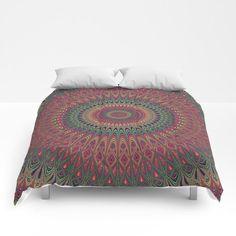 Autumn Star Mandala Comforter by David Zydd #giftidea #gift #artwork #homedecor #graphic
