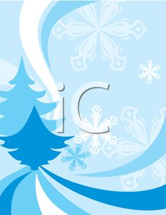 Winter background with evergreen trees and snowflakes.