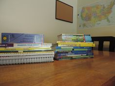 Our first grade curriculum. A beka full first grade curriculum supplemented with BOB books, A Reason for Handwriting, History for Little Pilgrims & some workbooks I picked up at Costco & the 99 cent store.