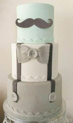 This makes for a perfect Baby Shower Cake.of course for a boy ☺️My top layer will be light blue! or Hipster cake! Baby Cakes, Cupcake Cakes, Baby Party, Baby Shower Parties, Baby Showers, Baby Shower Gender Reveal, Baby Boy Shower, Men Shower, Boy Baby Shower Themes