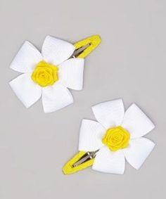 Take a look at this White & Yellow Flower Snap Clip - Set of Two by Bubbly Bows on #zulily today! by francisca
