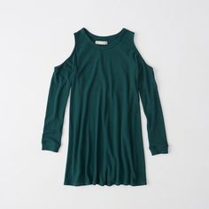 Abercrombie & Fitch Cold Shoulder Swing Dress ($29) ❤ liked on Polyvore featuring dresses, teal, cut out shoulder dress, abercrombie fitch dresses, teal dress, blue dress and crew neck dress