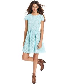 Kensie Go Red Dress, Short-Sleeve High-Neck Lace A-Line - Womens Dresses - Macy's