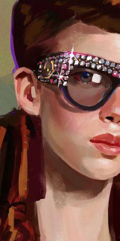 Fashion Collage, Fashion Art, A Level Art, Rectangle Sunglasses, Gucci Sunglasses, Digital Portrait, Face Art, Poses, Designing Women