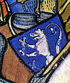 Joshua battles Amalek (detail). Heraldic charge on a heater-shield; in heraldic terminology - a lion rampant argent on an azure field.
