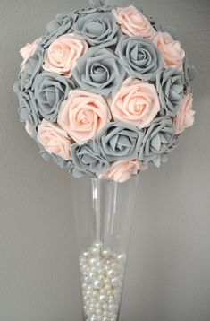 PINK BLUSH & GRAY Kissing Ball. Wedding Centerpiece. Flower Ball. Pomander. Wedding Decor. Flower Girl Bouquet.