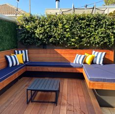 Deck Bench Seating, Outside Benches, Sunbrella Outdoor Cushions, Outdoor Beds, Outside Seating, Wall Seating, Patio Cushions, Built In Seating, Diy Outdoor Furniture