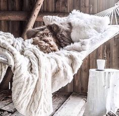 Get cozy with inspiration from these Hygge worthy spaces. Rustic Winter Decor, Indoor Hammock, Hammocks, Hammock Beach, Hanging Hammock, Hammock Chair, Hanging Chair, Home Improvement Loans, Winter House