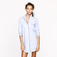 Nightshirt in end-on-end cotton - CHECK