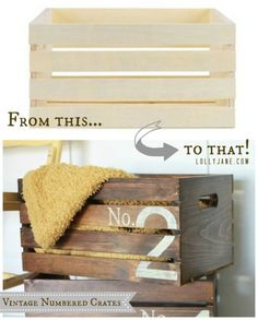 Vintage numbered crates. Buy ready to finish crates from @joannstores, stain then apply number stencil. EASY vintage replica crates! Great for storage. Click through to see them in a darling herringbone bookcase!