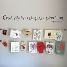 Creativity is Contagious Wall Decal Large - Children Artwork Display Decal - Albert Einstein Quote