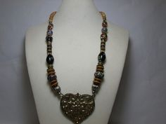 Large Heart Pendant Necklace-Tribal by CatzShinySmiles on Etsy