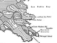 Rancho Map showing the land grants in San Anselmo San Rafael, San Pablo, Marin County, Thesis, Timeline, Map, San Jose, Dots, Location Map