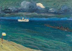 Wassily Kandinsky (1866 - 1944) Rapallo, Seascape with Steamer, 1906
