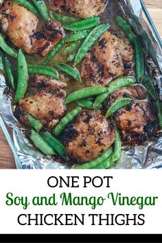 Soy and Mango Vinegar Marinated Chicken Thighs with Sugar Snap Peas - Slender Kitchen