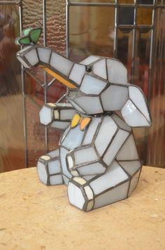 Stain Glass Bobble Head Blue Elephant Design Lamp   eBay