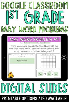 These Google Classroom 1st grade word problems are perfect to use for spring, May themed digital learning. These addition and subtraction word problems involve taking apart, putting together, and comparing with unknowns in all positions. These are to be used in Google Slides. Printable versions
