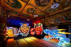 目黒雅叙園内、東京都の指定有形文化財に登録されている百段階段で開催される、「和」に因んだ様々なテーマの明かりが灯るイベント。「日本の色彩」と「日本の祭り」がテーマの今年は、青森のねぶたや島根県の異国情緒溢れる石見神楽などが建物内に出現する。ほかにも浴衣や金魚など、夏ならではの和の小物が彩る。異次元に迷い込んでしまったよ