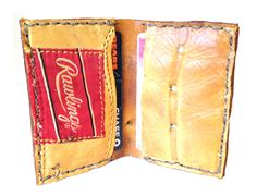 Baseball Glove Wallet leather bifold wallet made by BellAndHarry