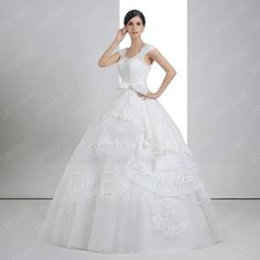 Dresswe.com SUPPLIES Delicate V-Neck Lace Tiered Beading Wedding Dress Ball Gown Wedding Dresses (3)