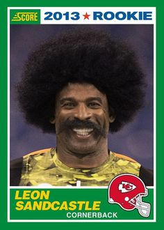 Deion Sanders' alter-ego gets another boost when Leon Sandcastle football cards are dropped into Panini products in a few weeks. Football Memes, Football Cards, Football Players, Baseball Cards, Fantasy Football Logos, Sports Fanatics, Sports Humor, Cool Posters, Trading Cards