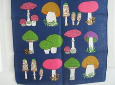 MOD Vintage Towel Mushrooms MINT by NeatoKeen on Etsy, $24.00