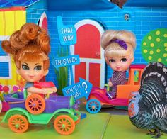 """Little Kiddles... Uncle Elb gave me """"Lexie"""" in her purple car. I already had the house."""