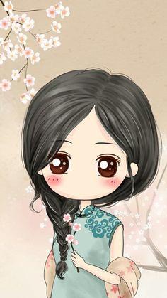 girl, wallpaper, and cute image Kawaii Chibi, Cute Chibi, Kawaii Cute, Anime Chibi, Cartoon Kunst, Cartoon Art, Cute Girl Wallpaper, Wallpaper Art, Cute Cartoon Girl