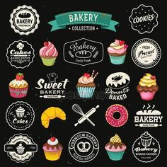 Collection of vintage retro bakery badges and labels on chalkboard. Hand lettering style with cupcakes, croissants, donuts, breads, pretzel and cookies. Cupcake Illustration, Bakery Business Cards, Cake Business, Good Bakery, Sweet Bakery, Cake Logo Design, Bakery Design, Cupcake Bakery, Bakery Cakes
