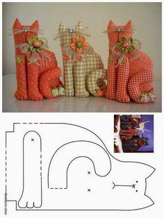 ARTE COM QUIANE - Paps,Moldes,E.V.A,Feltro,Costuras,Fofuchas 3D: Molde gatinho de retalho