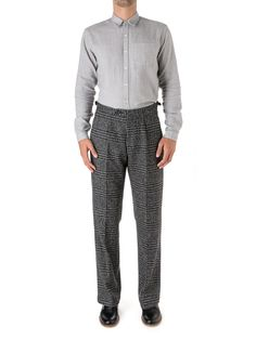The Cavalry Trouser is a looser cut than our Fishtail, without being baggy. Here it shines thanks to the bold check of the Haydon charcoal fabric. Trouser Outfits, Fishtail, Charcoal, Trousers, Sweatpants, Clothing, Fabric, Fashion, Trouser Pants