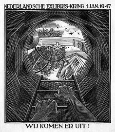 MC Escher, New Year's greeting card 1947, Nederlandsche Ex Libris- Kring, The Hague (B. 345) 1946, Woodcut