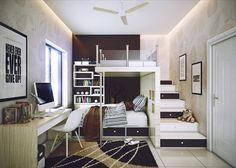 Chambre ado avec petite mezzanine
