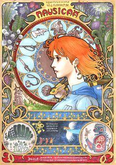Studio Ghibli Film Characters Reimagined As Art Nouveau Paintings