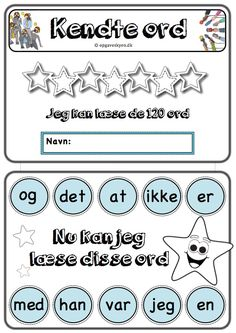 De 120 ord School Worksheets, Guided Reading, Grade 1, Homeschool, Language, Teaching, Education, Danish Language, Languages
