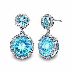 Blue Topaz Sterling Silver Drop Earrings