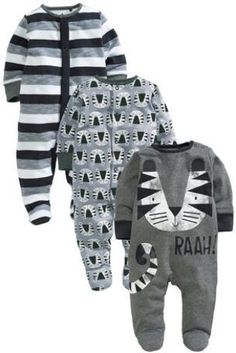 Buy Three Pack Tiger Sleepsuits (0mths-2yrs) from the Next UK online shop